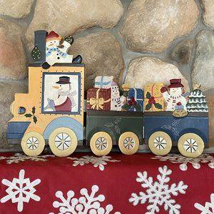 Christmas Snowman Display Folding Wood Screen